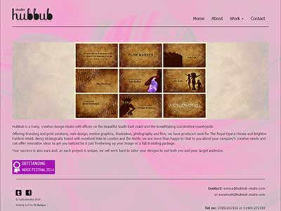 Hubbub Studio. Development of a website for a creative agency based in Hastings, East Sussex and Caythorpe, Lincolnshire
