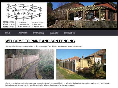 Paine & Son Fencing. Bespoke website design for a company in Robertsbridge, East Sussex